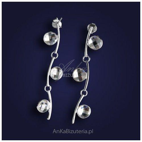 """Oryginalne srebrne kolczyki z cyrkoniami """"Kwiat konwalii"""""""