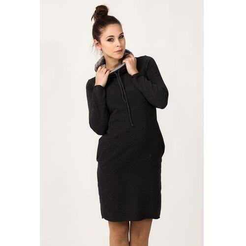 7b53c55503 ... Dresowa dwukolorowa sukienka z golfem kaja ciemnoszara marki Tessita -  Galeria produktu ...