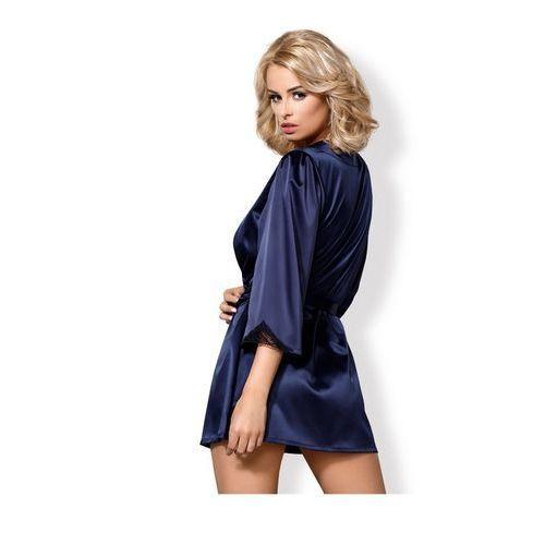 Granatowy szlafroczek - satinia robe & thong dark blue l/xl marki Obsessive