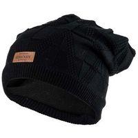 Zimowa czapka z naszywką - czarna