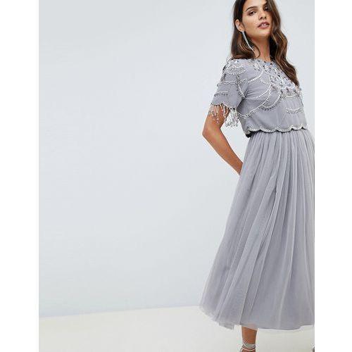 5d021273cbefaa Asos design crop top fringe embellishment tulle midi dress - grey - Foto