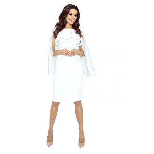 Ołówkowa sukienka z pelerynką, kolor beżowy