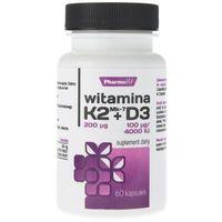 Kapsułki Pharmovit Witamina K2 MK7 200mcg + D3 100mcg 60 kapsułek - suplement diety