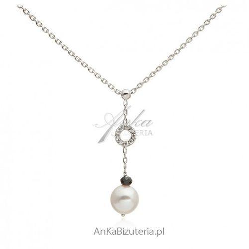 Anka biżuteria Ankabizuteria.pl srebrny naszyjnik z białą perełką