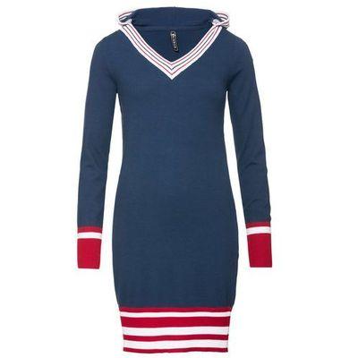 36a7a72f39 Sukienka dzianinowa głęboki niebieski - pomarańczowo-czerwony - biały w  paski