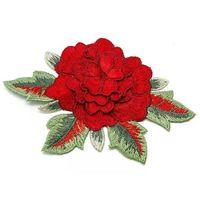 NASZYWKA APLIKACJA kwiat czerwony liście zielone - CZERWIEŃ