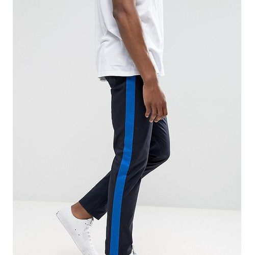 Tall slim cropped chinos with side stripe in navy - navy, Asos