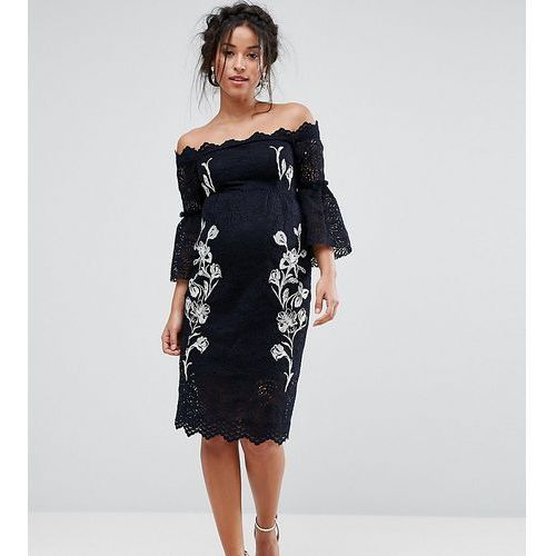 Hope & ivy maternity bardot lace pencil dress with embroidery - navy, Hope and ivy maternity