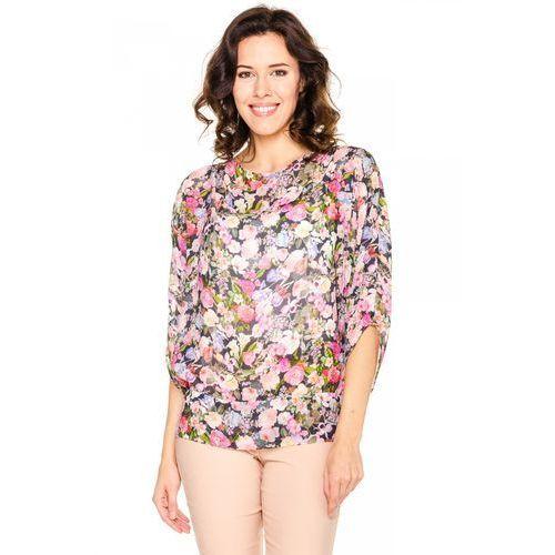 Bluzka w kwiaty z jedwabiem - Duet Woman, kolor wielokolorowy