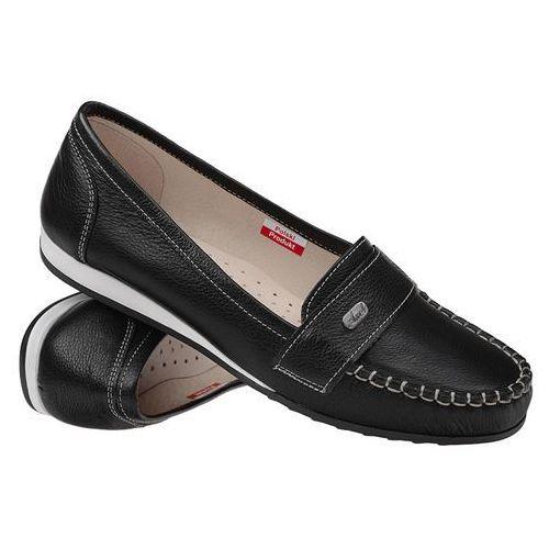 Mokasyny wsuwane buty comfort 1513 black - czarny, Axel
