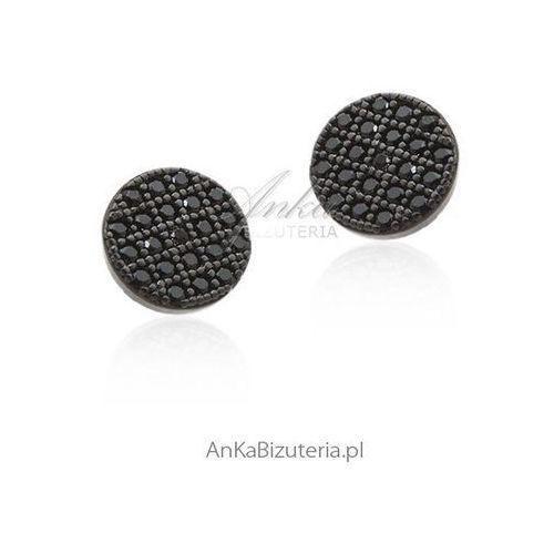 Kolczyki srebrne z czarnymi cyrkoniami, kolor czarny