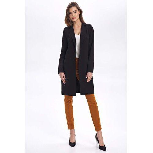 Klasyczny czarny płaszcz jednorzędowy, 1 rozmiar