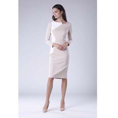f22025e5e99f9c Beżowa ecru wizytowa sukienka z kontrastowym panelem marki Nommo MOLLY
