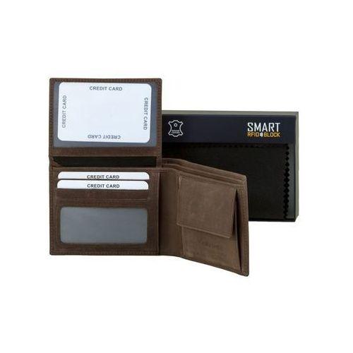 ✅ bezpieczny męski portfel na karty zbliżeniowe rfid skórzany brązowy - brąz mat marki Koruma®