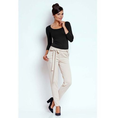 Beżowe Stylowe Spodnie z Wiązaną Szarfą, NA429cr