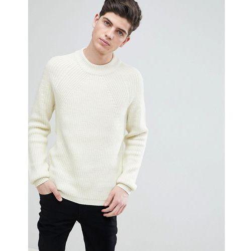Mango man ribbed wool-blend sweater in ecru - white