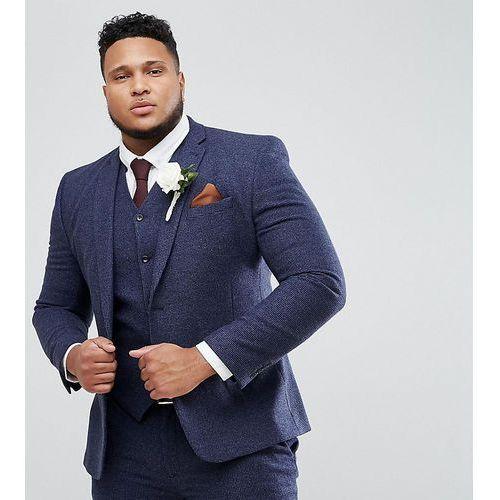 b96808a9e4c57 Zobacz ofertę ASOS DESIGN Plus wedding super skinny suit jacket in blue  micro check - Blue, kolor