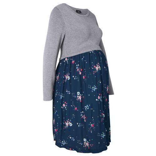 Sukienka ciążowa z dzianiny i wiskozy szary melanż - ciemnoniebieski z nadrukiem, Bonprix, 32-34