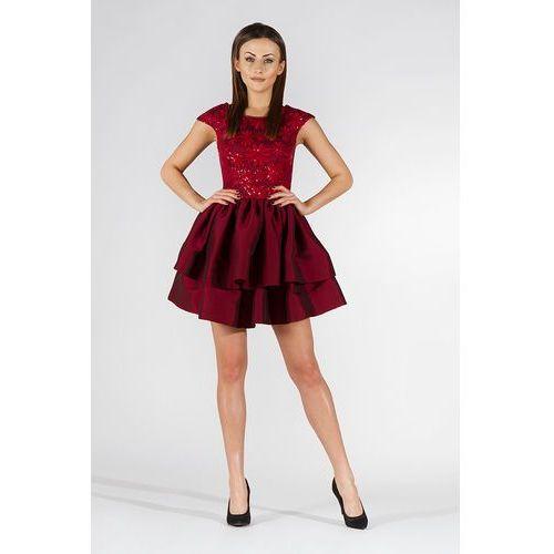 Bordowa Sukienka Wieczorowa z Tafty i Koronki, kolor czerwony