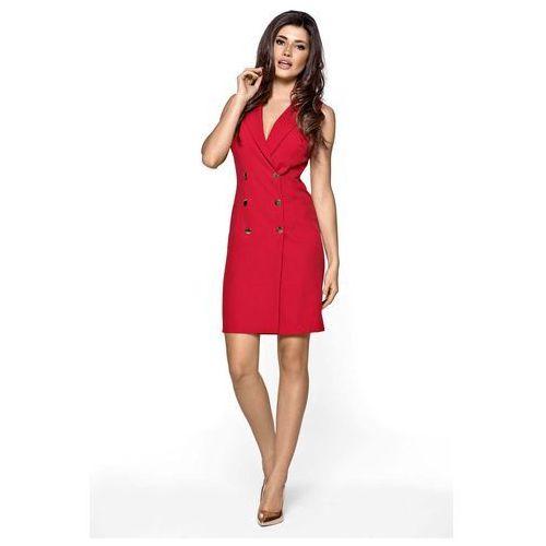 c7878fed4d Kartes moda Czerwona sukienka żakietowa kamizelkowa mini szmizjerka -  Galeria
