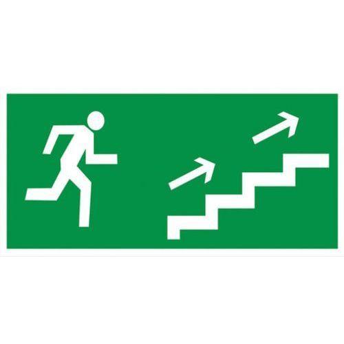 Znak kierunek ewakuacji schodami w prawo w górę Techem