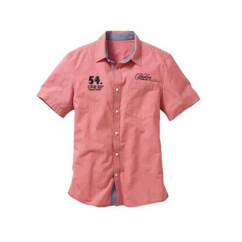 Koszula z krótkim rękawem regular fit koralowy w kratę Bonprix
