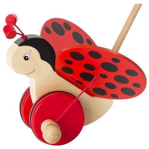 Goki Drewniana zabawka do pchania na kółkach, biedronka aldonka