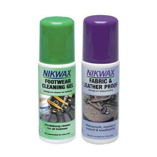 Nikwax Zestaw 2x125ml/ żel czyszczący z gąbką + impregnat spray-on atomizer do obuwia tkanina i skóra