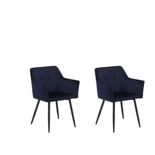 Beliani Zestaw do jadalni 2 krzesła welwet ciemnoniebieskie jasmin