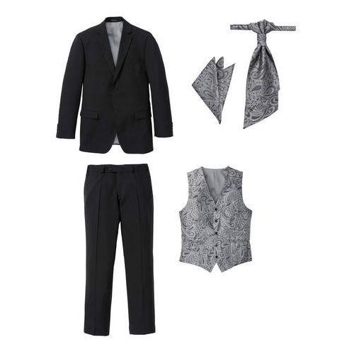b18df12ae6d55 Garnitur 5-częściowy (marynarka, spodnie, kamizelka, krawat i chusteczka do  butonierki) czarny, Bonprix