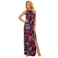 Maxi sukienka wiązana na szyi w kwiaty - fioletowa