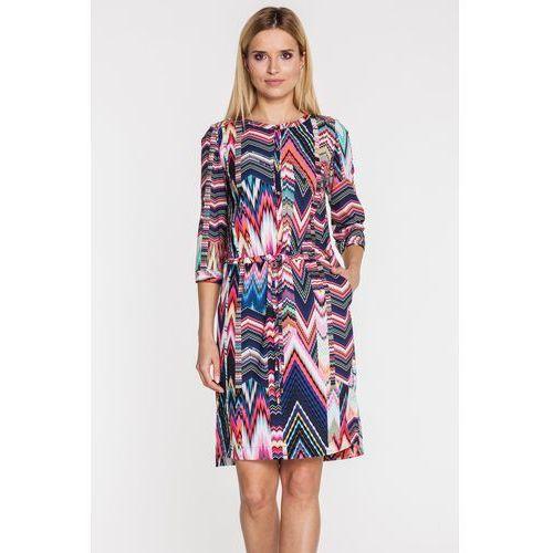 312079a76f Wzorzysta sukienka z rękawem 3 4 - Potis  amp  Verso