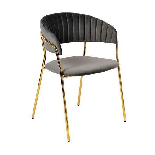 Krzesło MARGO ciemny szary - welur, podstawa złota, FDC7029.XC213-11 (12004178)
