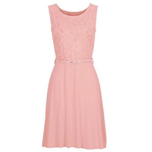 316ce63d7c Sukienka z dżerseju z koronką dymny różowy (bonprix) - sklep ...