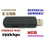 Mikro-Dyktafon/Cyfr. Rejestrator Dźwięku Ukryty w Pendrive 8GB (280h!) + Aktywacja Dźwiękiem (VOX)., 5907773415389