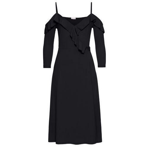Sukienka kopertowa z falbanami czarny Bonprix