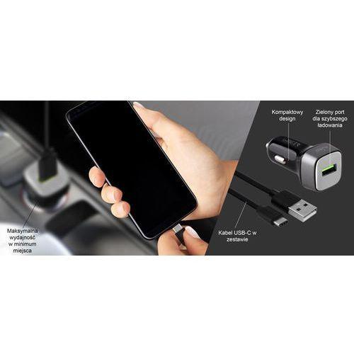 Car Fast Charger Uniwersalna ładowarka samochodowa USB 3.0 A + kabel USB C 1 m, 15 W (czarny), 10_11781 (Puro)