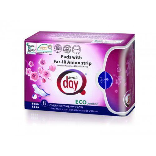 Gentle day (podpaski, tampony, wkładki) Podpaski higieniczne na noc z paskiem anionowym 8 szt. - gentle day