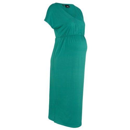 Sukienka shirtowa ciążowa midi bonprix zielony, kolor zielony