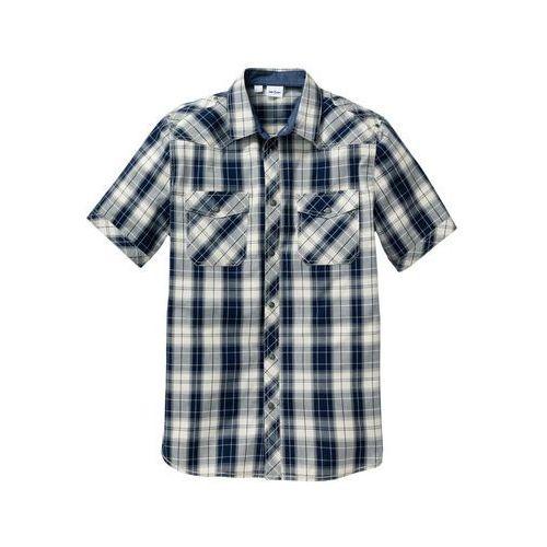 Koszula z krótkim rękawem Regular Fit bonprix naturalno-ciemnoniebieski w kratę, w 2 rozmiarach