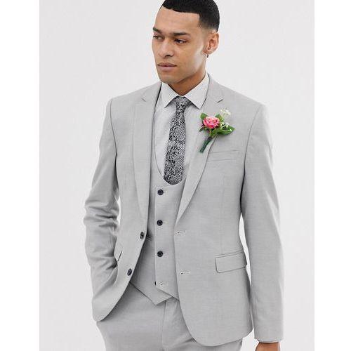 0f8facc1ccc19 ASOS DESIGN wedding super skinny suit jacket in micro texture ice grey -  Grey, kolor szary