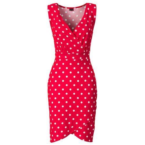 Bonprix Sukienka czerwono-biały w groszki