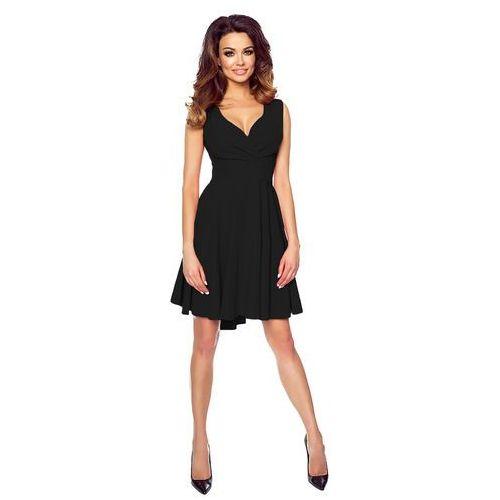 09d9054dc0 Czarna Zmysłowa Sukienka z Kopertowym Dekoltem na Szerokich Ramiączkach
