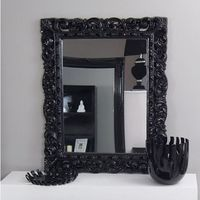 Design by impresje24 Lustro, styl barokowy, ozdobna rama, półmat, kolor czarny.
