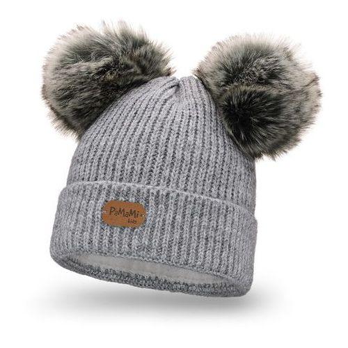 Pamami Zimowa czapka dziewczęca - jasnoszary - jasnoszary (5902934095266)