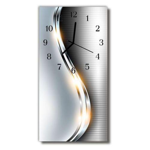 Zegar Szklany Pionowy Nowoczesny Metal metalowy srebrny, kolor szary