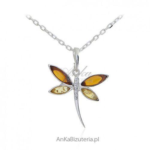 729d37fd0ea3d7 Ankabizuteria.pl Wisiorek srebrny ważka - biżuteria srebrna z bursztynem