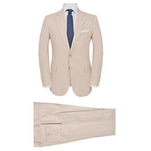 4308129bfb051 Zobacz ofertę Vidaxl Lniany garnitur męski, 2-częściowy, rozmiar 52, beżowy