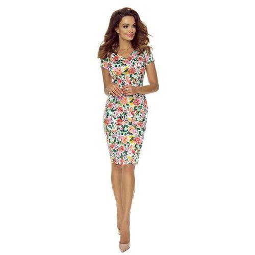 Ołówkowa sukienka w drobne kwiatki z dekoltem w serek (5903093597462)