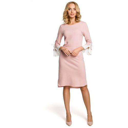 e2405d2611 Zobacz ofertę Pudrowa Sukienka Prosta Dzianinowa z Białym Mankietem